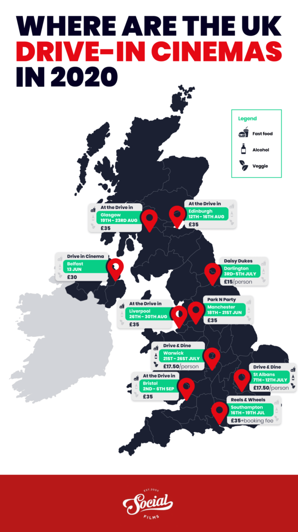 Map of the UK highlighting some of the top drive-in cinemas
