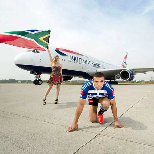 Branded video content featuring a British Airways aircraft and Bryan Habana in Man vs Plane